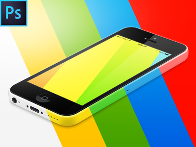 iPhone 5c 3D View FREE PSD Vector Mockup apple iphone 5c freebie free template mockup psd device ios 8 screen p-px all colors