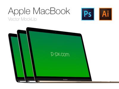 Free Apple  brand new MacBook Vector PSD + AI (All Colored) retina apple new macbook mac 2015 mockup template psd freebie free