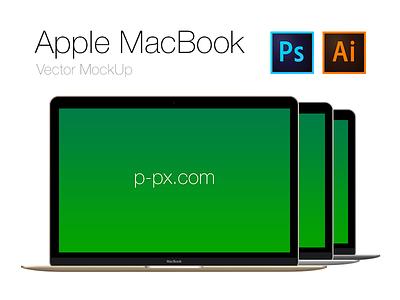 Free Apple brand new MacBook Frontal PSD + AI (All Colored) retina apple new macbook mac 2015 mockup template psd freebie free