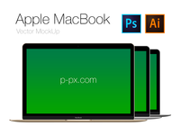 Free Apple brand new MacBook Frontal PSD + AI (All Colored)
