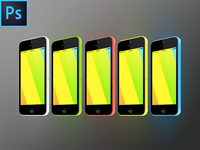 iPhone 5c 3/4 View FREE PSD Vector Mockup