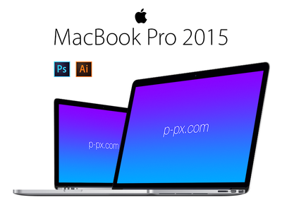 MacBook Pro 2015 Angled View PSD + Ai Free Vector Template p-px screen pro macbook mac psd mockup template free freebie apple 2015