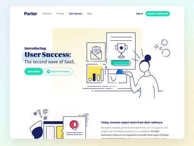 User Success Marketing Page corpo art color blocking line art branding design website illustration