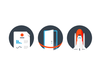 Triptych circle icons shuttle door red rope analytics report launch