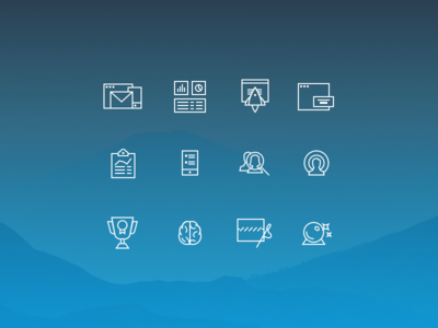 Line icons report graph dashboard rocket email phone mobile trophy brain icons