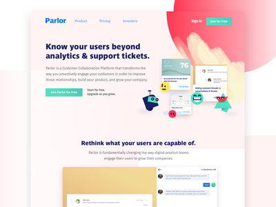 Parlor Website landing page homepage app scribbles product branding product design tools characters product marketing hero