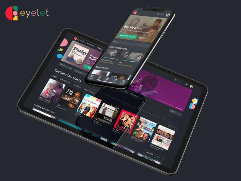 🎥Eyelet is online! startup interface independent ui ux product design articles svod tvod ondemand movies platform films indie