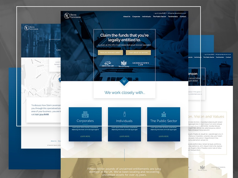 Stern Levenson website sketchapp design recovery lawyer gold blue interaction uk web london ui ux