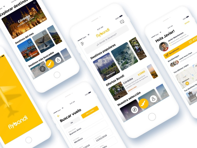 Design proposal for Flybondi 👨✈️🛩 trip travel schedule flight boarding pass ios interface design app fly ux