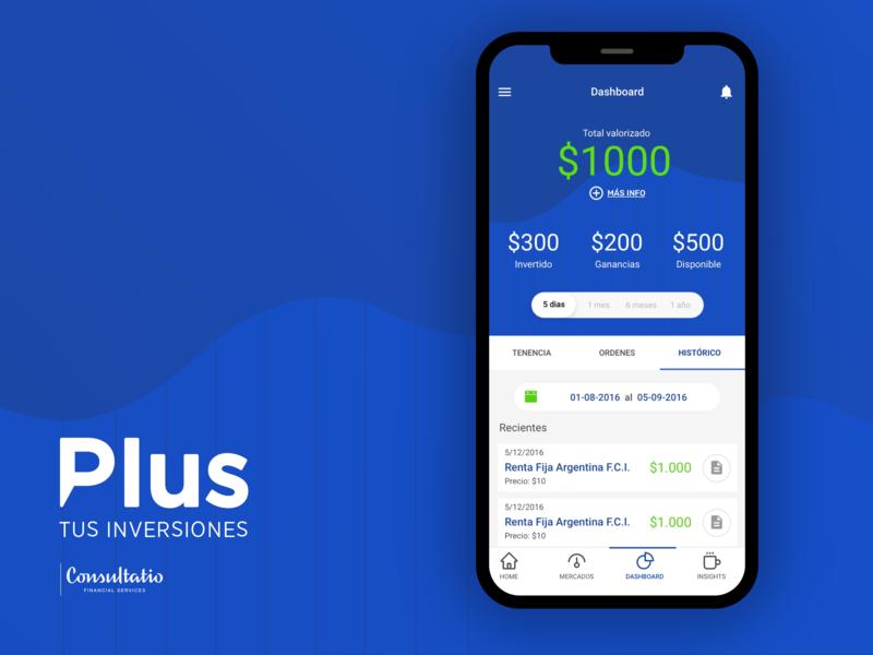 Plus - Tus Inversiones app dashboard gauge stats finance stock ux invest fintech app