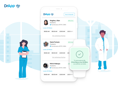 👨🏻⚕️📱DrApp ux design doctor appointment appointment notification iwatch webapp list results search medical doctor