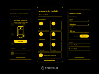 📱Installer Tool app wireframes mobile vector smarthome alarm iot innovation security ux smart app wireframes
