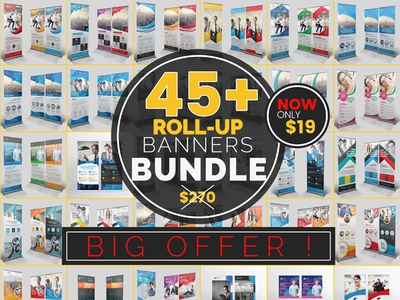 Mega Roll-up Banners Bundle offers graphic template print template cristal-p graphicriver creative market roll up banners mega offer banners roll-up shot latest design