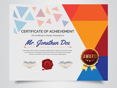 Certificate Template us paper size clean geometric certificate popular design shot award multicolored certificate colorful graphic  design school certificate design template creative market certificate