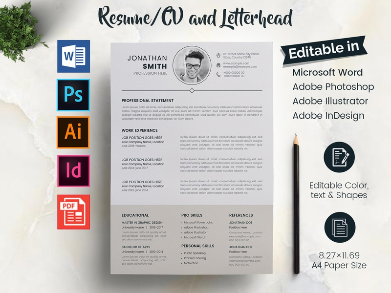 The Resume/CV professional cv word resume ms word microsoft word job resume job eps resume docx document designer resume design cv design cv cover letter clean resume clean letterhead clean a4 2 layout