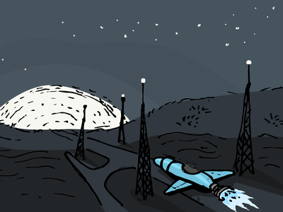 Ready for take off! moon rocket illustration