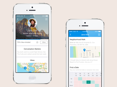 hikewith.me – iOS App flat minimal hikewith.me app ios travel hiking scheduling