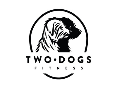 Two Dogs BW type black  white fitness dogs illustration icon logo