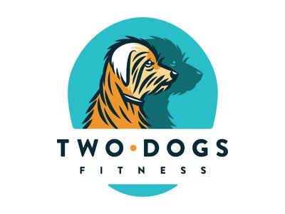 Two Dogs Logo type color fitness dogs illustration icon logo