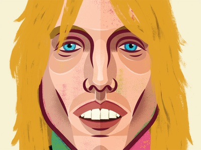 Petty texture linework bold musician celebrity illustration portrait tom petty