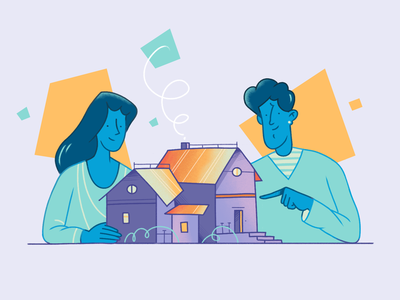 New Home abstract household family woman building house man illustration flat character fireart fireart studio character design 2d illustration