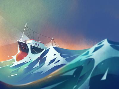 Waves sky light storm boat ocean sea skyline illustration fireart fireart studio