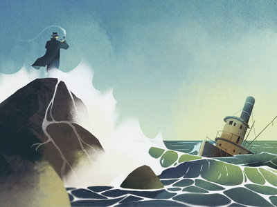Crash rock boat seascape sea fireart character fireart studio 2d illustration
