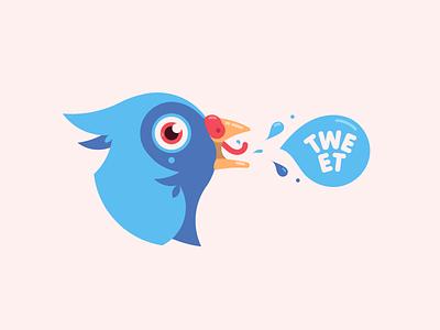 Birdy twitter tweet head bird character design 2d illustration