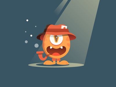 Detective lucky strike hat detective child monster character design 2d illustration