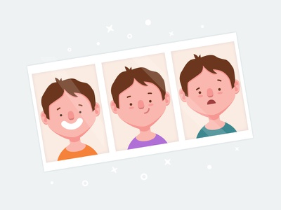 Photo booth photo booth character portrait 2d illustration