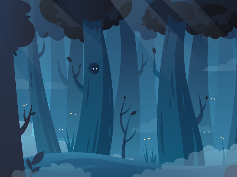Mystery forest fireart studio fireart illustration forest