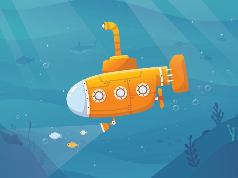 Submarine 2d illustration exploration sea fireart studio fireart submarine