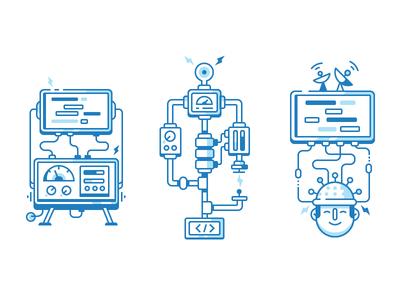 Tech Icons experiment head complex mechanism test coding stroke flat icon fireart studio fireart
