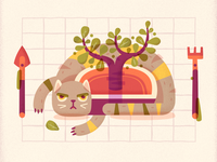 Cat with a plant