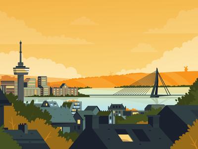 Rotterdam landscape 2d illustration flat skyline clouds trees mill rotterdam city fireart studio fireart