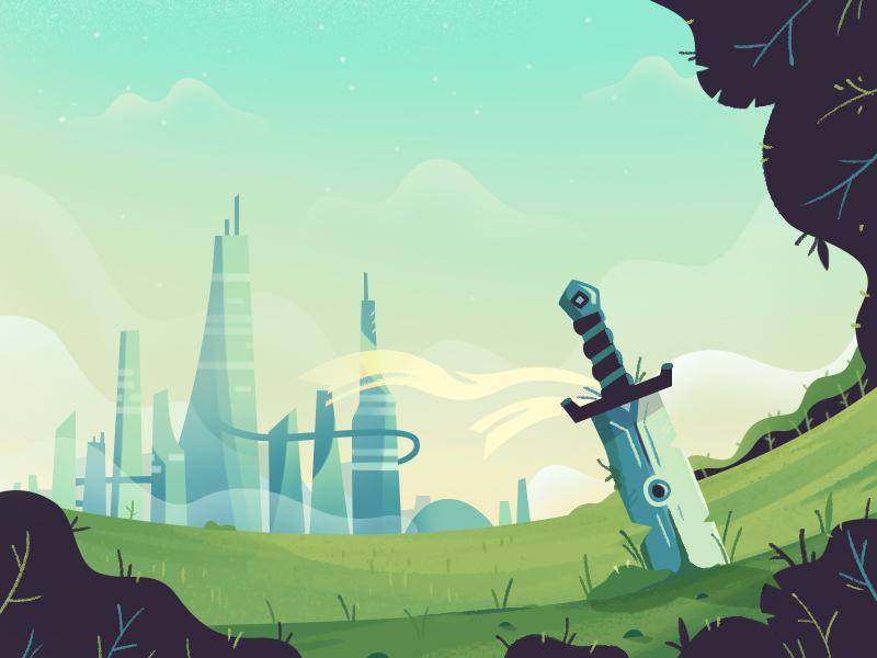 Old Battlefield battle sword 2d illustration skyline landscape fireart studio fireart