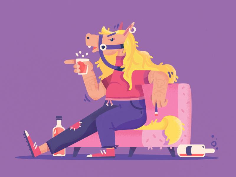 Horse drunk character design horse fireart studio fireart