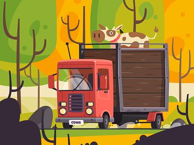 Truck journey forest car truck cow fireart studio fireart