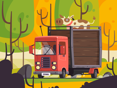 Truck journey forest car truck cow fireart studio fireart