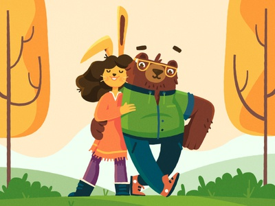 Bear Hug fireart studio bunny bear 2d illustration character design