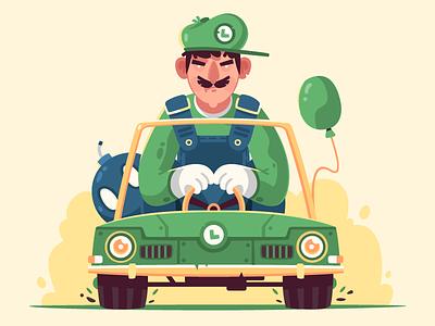 Luigi fireart studio car game mario kart luigi 2d illustration character design