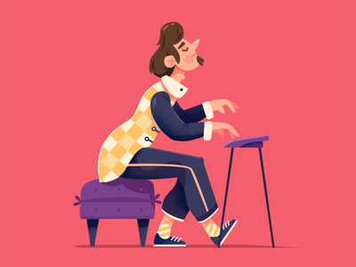 Pianist jazz music character design pianist musician 2d illustration