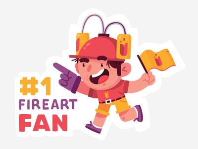 Fireart Fan fan character design fireart studio sticker