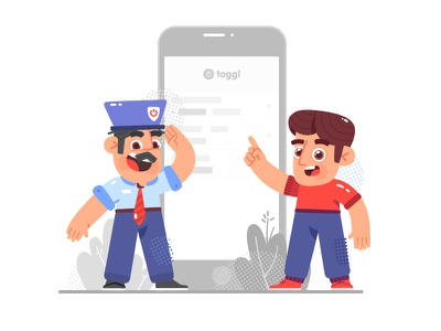 Toggl Characters policeman app phone toggle guy character design 2d illustration