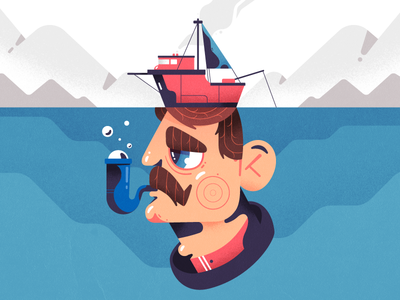 Sailor pipe boat sailor man desing character illustration 2d