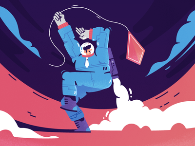 Space Kite kite space flat design character illustration 2d