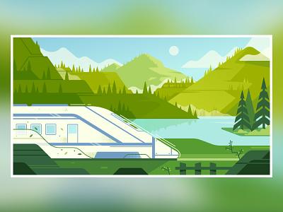 Train fireart fireart studio travel tree lake mountain landscape train 2d illustration