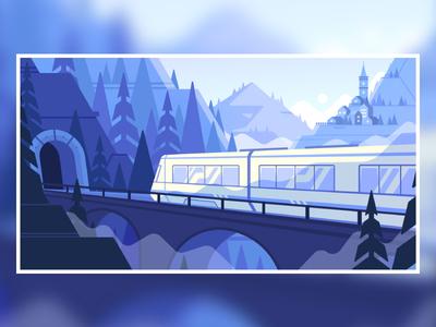 Travel landscape snow mountains train illustration 2d