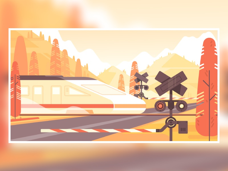 Autumn travel flat landscape train mountain travel 2d illustration