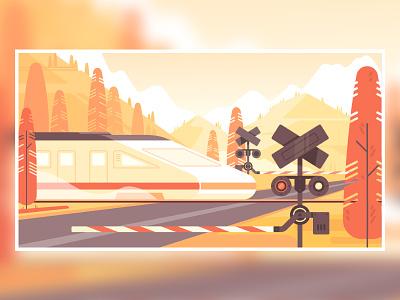 Autumn travel flat landscape train mountain travel 2d illustration